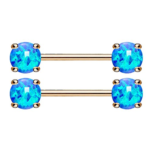Fifth Cue 14G Opal Prong Set Front Facing 14Kt. Rose Gold Plated Nipple Barbells (Synthetic Opal) (Opal Blue Pair 2X Bars w/5mm Balls)