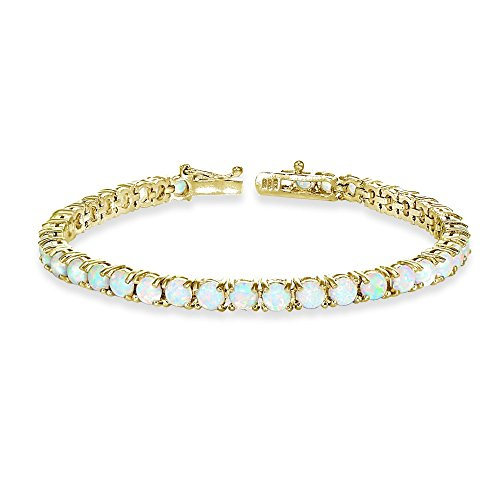 Yellow Gold Flashed Sterling Silver 4mm Simulated White Opal Round-cut Tennis Bracelet - Yellow Gold Opal Bracelets