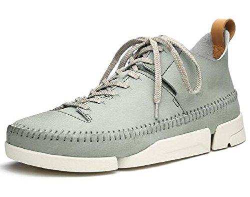 Happyshop Tm Mens Vrai Cuir Anti-dérapant Chaussures De Marche Chaussures De Loisirs Baskets (us 8.5, Bleu Gris)
