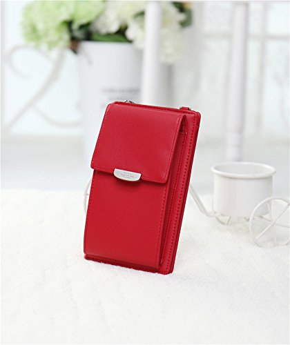 Handbag NYKKOLA Shoulder Phone Mini Leather Classic Strap Red Womens Bag with Cell Purse Wallet body Coin Bag Cross r7w8qx4rY