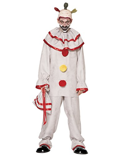 Spirit Halloween Adult Twisty The Clown Costume American Horror Story Freak Show, XL 48-50, White, XL 48-50, White, XL 48-50, White -
