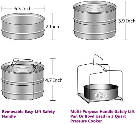 41eUmWLOeCL. AC Aozita 3 Quart Stackable Steamer Insert Pans - Accessories for Instant Pot Mini 3 qt - Pot in Pot, Baking, Casseroles, Lasagna Pans, Food Steamer for Pressure Cooker, Upgrade Interchangeable Lids    Parts Included: 1.Two stackable insert pans 2.One interlocking handle 3.Two Interchangeable Lids 4.One silicone insulation mat 5.One user manual Stackable cooker inserts enable you to: Cook variety of healthy and tasty dishes simultaneously by stacking. Reheat leftover food in pressure cookers, and avoid the microwave. Make cheesecakes without using non-stick pans. Store cooked and leftover food in refrigerator. Product Specifications:  Item condition: New Size: Fits inside 8-quart cooker Item Dimension: 6.5 x 6.5 x 4.7 inch (L x W x H) Material: Food-Grade Stainless Steel Care and Cleaning: 1. Aozita inserts are dishwasher safe but hand drying is recommended for a spotless shine. 2. Do not use steel wool, bleach or strong abrasive cleaners. If you decide to hand-wash your inserts, use mild detergents and warm water. 3. Whether you are washing your inserts by hand or in the dishwasher, it is important to dry it promptly so that spotting, streaking, discoloration, or corrosion does not occur. 100% Satisfaction : If you have any issue with our products, please don't hesitate to contact us, we will try our best to find a satisfactory solution for you within 24 hours!