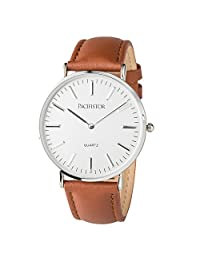 PACIFISTOR® Mens Quartz Wrist Watch Ultra Thin Slim Casual Business Brown Leather Band