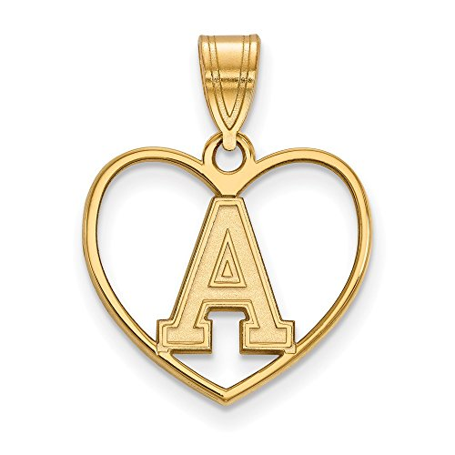 Roy Rose Jewelry Sterling Silver with 14K Yellow Gold-plated LogoArt U.S. Military Academy Pendant in Heart by Roy Rose Jewelry