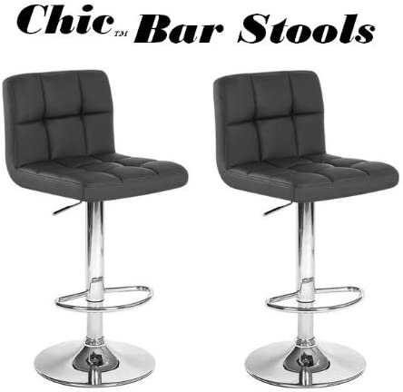 South Mission Chic Modern Adjustable Synthetic Leather Swivel Bar Stool – Black Set of 2