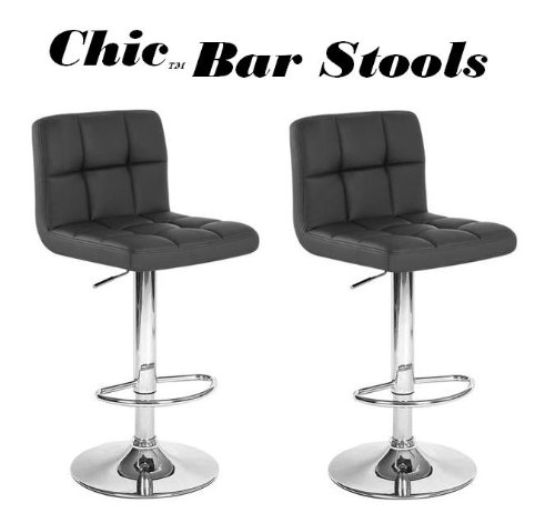 Suede Adjustable Bar Stools - South Mission Chic Modern Adjustable Synthetic Leather Swivel Bar Stool - Black (Set of 2)