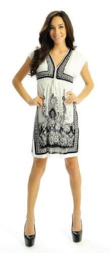 Peach Couture Women's Retro Paisley Print V-Neck Kimono Summer Dress (Small/Medium, (Empire Waist Kimono Sleeve Top)