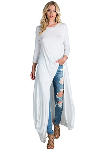 Annabelle 3/4 Sleeve High Low Casual Long Maxi Tunic Tops Off White Large X-Large T1022C