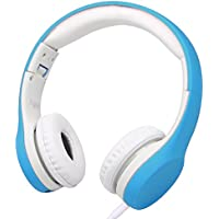 Wired Volume Limited Kids Headphones with Microphone and Music Sharing for Boys Girls Children by Agolds (Blue)