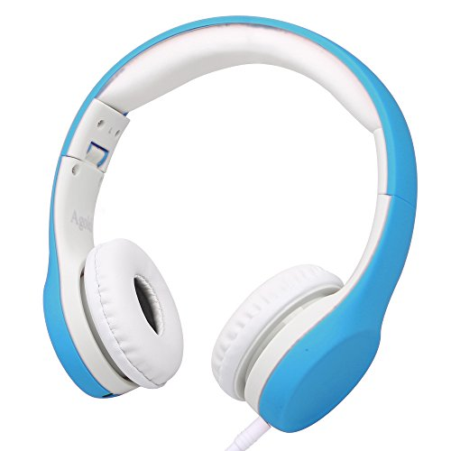 Sharing Music (Wired Volume Limited Kids Headphones with Microphone and Music Sharing for Boys Girls Children by Agolds (Blue))