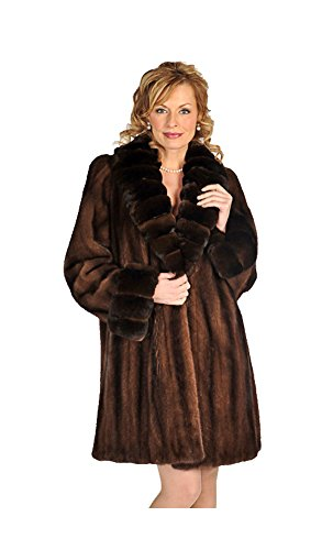 Real Natural Mink Fur Jacket for Women Chinchilla Collar & Cuff Size (Brown Mink Jacket)