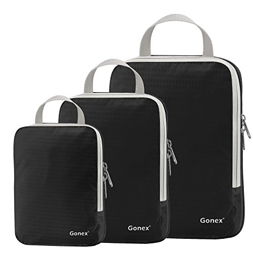Set of 3 Gonex Packing Cubes, Clothing Compression Cube Extensible Storage Bags Organizers(Black)