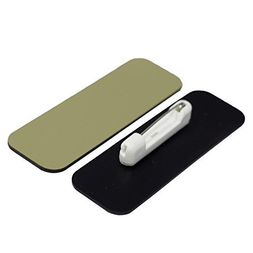 Name Tag / Badge Blanks - 25 Pack - Brushed Gold 1 X 3 , Round Corners, Pin by All Quality