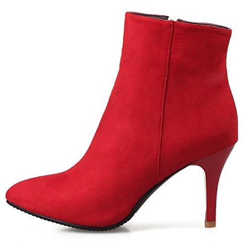 Eclair Red Élégant avec Bout Femmes RAZAMAZA Bottines Aiguille Fermeture Pointu Pgv84wq