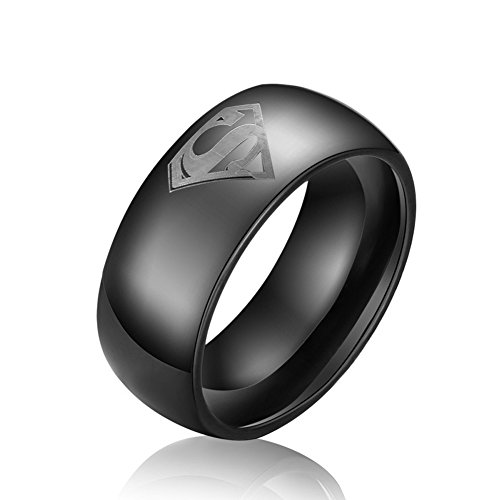 8mm Tungsten Carbide Rings for Men Black Beveled with 'Superman' Wedding Bands Rings Comfort Fit (10)