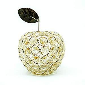 Ninight Gold Apple Figurine Table Decor, Handmade Crystal Style Fruit Ornament, Hollow Candle Shade 26