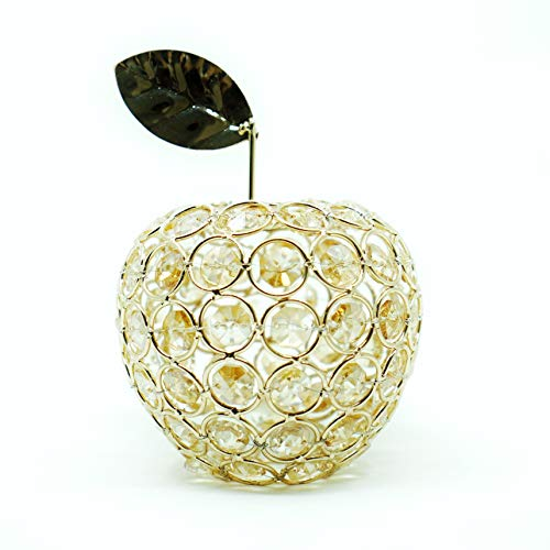 Ninight Gold Apple Figurine, Artificial Fruit Ornament Table Decor, Crystal Apple Gift