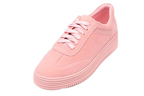 1TO9 Womens Light-Weight Lace-Up Round-Toe Microfiber Fashion Sneakers Pink