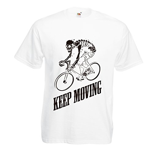 T shirts for men Motivational Quotes - The life is like riding a bicycle. To keep your balance, you must keep moving. (Small White Multi Color)