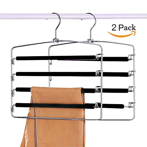 Space Saving Clothes Pants Hangers 2-Pack, Multi Layers Swing Arm Metal Slack Hangers Organizer with Foam Padded for Closet Jeans Trousers Scarves by Sunblo