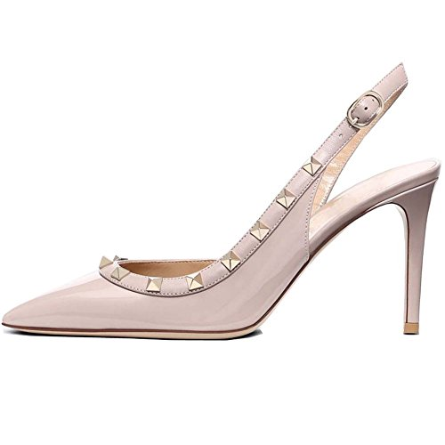 (Kmeioo Pumps for Women, Rivets Heels Slingback Pumps Pointed Toe High Heel Sandals Rockstudded Shoes for Wedding Dress-(US 7.5M) Nude)