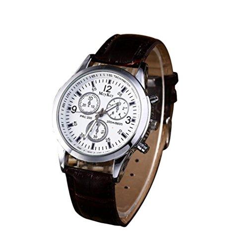 Casual Quartz Leather Band Strap Watch Analog Wrist Watch Blu-ray neutral three eye table (Black) ()