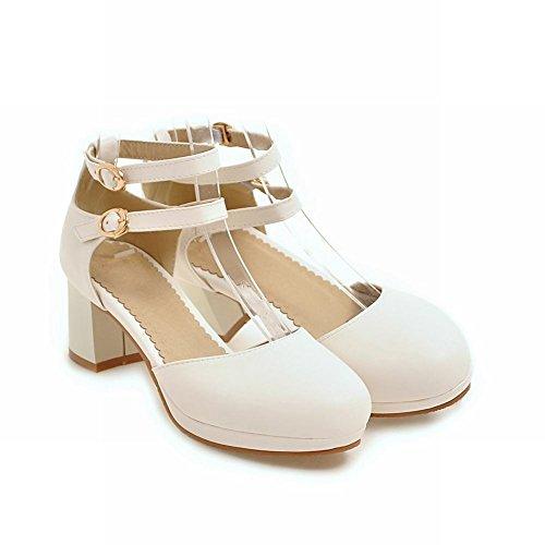 Carolbar Women's Solid Color Sweet Block Mid Heel Buckles Court Shoes White P1MVqXm0