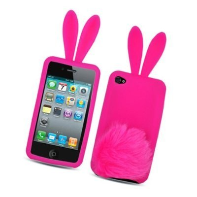 TOOGOO Hot Pink Bunny with Fur Tail Design Snap on Soft Silicon Skin Cover Case for Apple Ipod Touch Itouch 4 4g 4th Gen