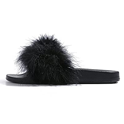 Womens Slides,Arch Support Sandals with Faux Fur Comfort Fuzzy Slippers
