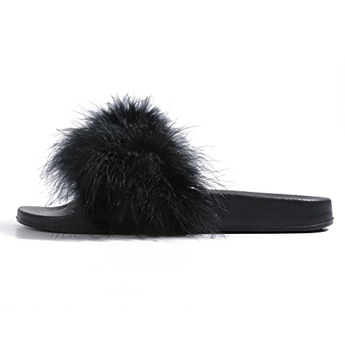 Slides for Womens Faux Fur Fuzzy Slippers with Arch Support in Flat Sandals Girls Outdoor Indoor Shoe, Black ,9-10 B(M) US by FITORY (Image #1)