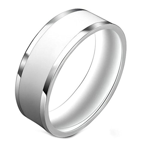 el Customize Mens Rings White Polished Comfort fit Rings Wedding Band Size 7 ()