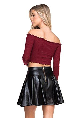 A-line Zip Skirt Back (Women's J2 Love Faux Leather Back Gold Zip Mini Skater Skirt, X-Small, Black Metallic)