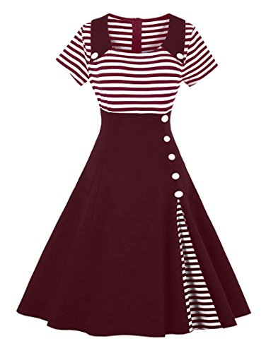 CharMma Women's Vintage Contrast Striped Patchwork Buttoned Swing Cocktail Dress (4XL, Wine (Plus Size Pin Up Dress)