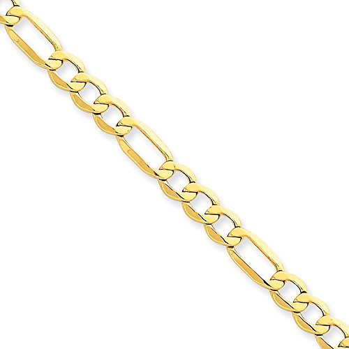 14kt Yellow Gold 5.75mm Semi-Solid Figaro Chain Bracelet; 8 inch 14kt Gold Figaro Chain Bracelet