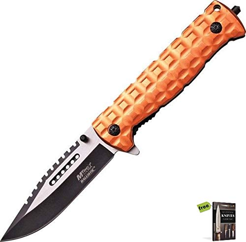 MTech A906DT Spring Assisted Open Two Tone Sawback/Tan Folding Knife with Stainless Steel Razor Sharp Blade Pocket Folder + Free eBook by SURVIVAL STEEL