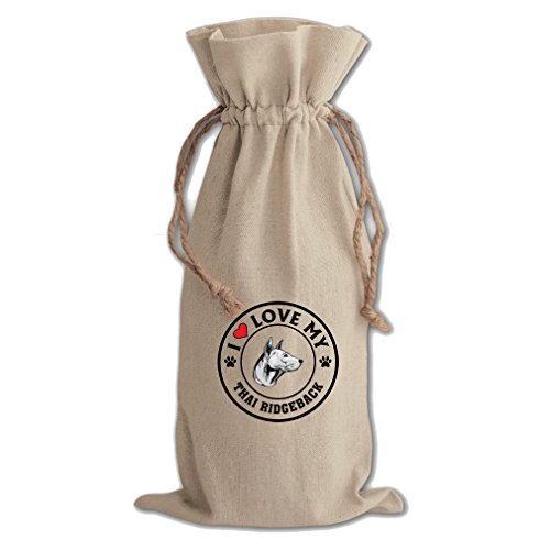 Canvas Wine Drawstring Bag I Love My Thai Ridgeback Dog Style 1 Style In Print by Style in Print