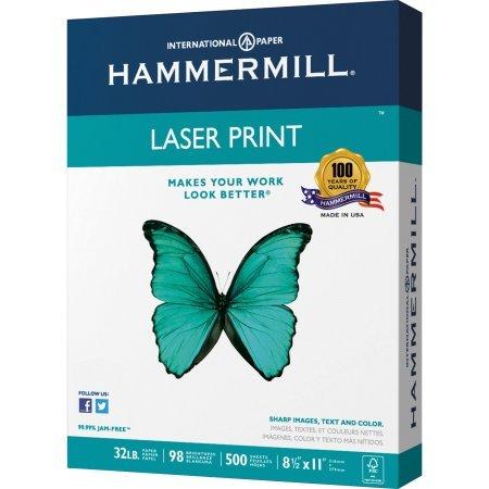 Hammermill Laser Print Inkjet, Laser Print Laser Paper, 98 Brightness, 32lb, 8-1/2 x 11, White, 500 Sheets/Pack - 3 (Smooth Laser)