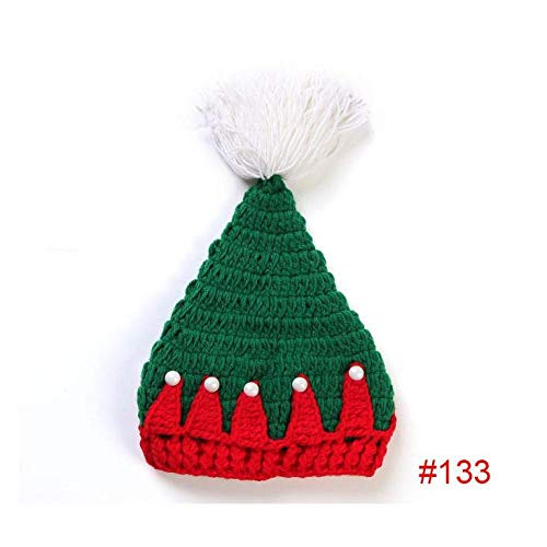FidgetGear Newborn Baby Crochet Knit Costume Photography Prop Santa Christmas Series Outfit Green Xmas hat #133 ()