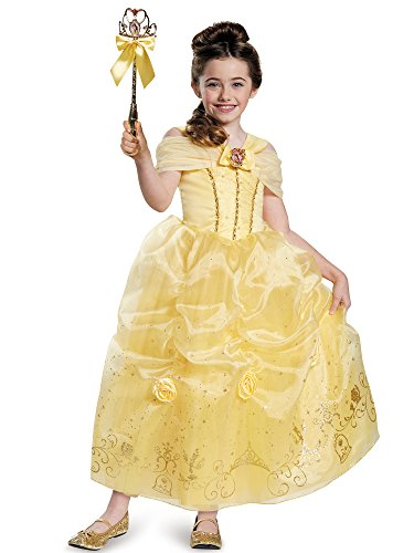 [Disguise Belle Prestige Disney Princess Beauty & The Beast Costume, Small/4-6X] (Belle Halloween Costumes For Women)