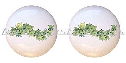 SET OF 2 KNOBS - Ivy Swag - Flowers Plants Flower Bouquet Floral - DECORATIVE Glossy CERAMIC Cupboard Cabinet PULLS Dresser Drawer KNOBS ()