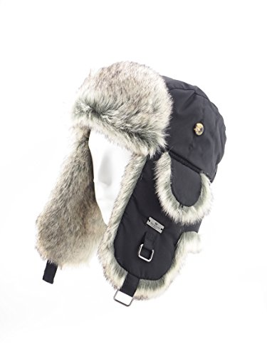 FUR WINTER Taslon Faux Fur Aviator Ski Trapper Trooper Pilot Hat BLK/GRY M/L