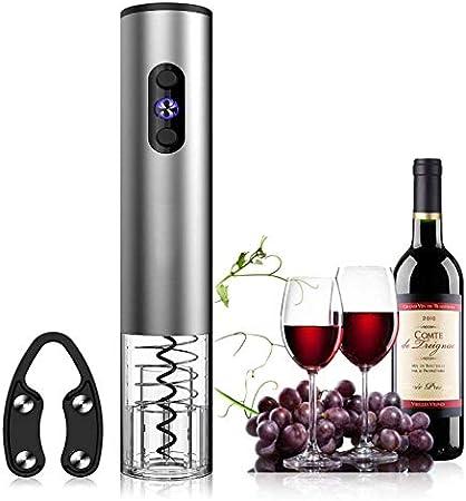 keyuan Sacacorchos Electrico, Abridor de Vino Electrico Profesional BateríA Alimentado con Cortador de CáPsulas para Vino/ChampáN/Sidra/Espumante, Etc (Plata Acero Inoxidable)