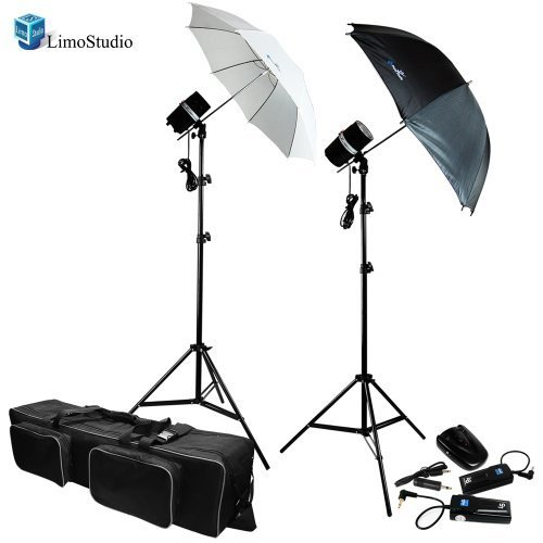 LimoStudio Two Photo Studio Monolight Strobe Flash Softbox Umbrella Lighting Kits Trigger Carry Bag, AGG710 by LimoStudio