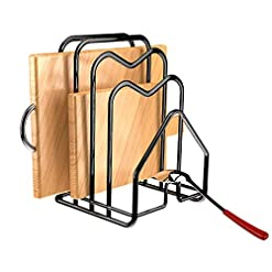 "Kitchen Cutting Board Rack Holder Chopping Board Organizer Stand Kitchen Pot Pan Lids Rack Organizer Flat Steel 4.92""x5.72""x8.46… pot lid holders"