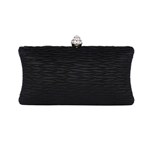 Damara Bag Frame Satin Black Evening Hardcase Pleated Clutch Womens Metal 8r6qH8
