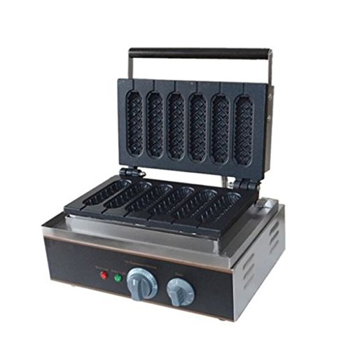 Wotefusi Hot Dog Waffle Machine Commercial Hot Dog Waffle Maker 6Pcs Two Shape Hot Dog Corn Great Baking Oven 110V