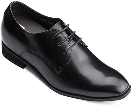 TOTO Zapatos con elevador invisibles para hombre que aumentan la alturaOxfords formales con cordones de cuero de primera calidad negros3 pulgadas más altosD16022