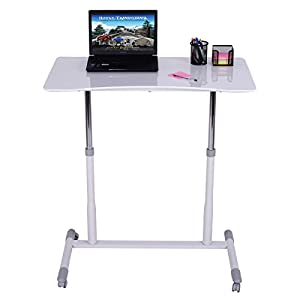 Tangkula Computer Desk Sit-Stand Workstation Notebook Stand with Wheels