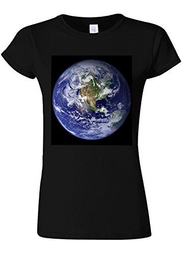 差し控えるオアシス輝くEarth World from Moon Funny Novelty Black Women T Shirt Top-M