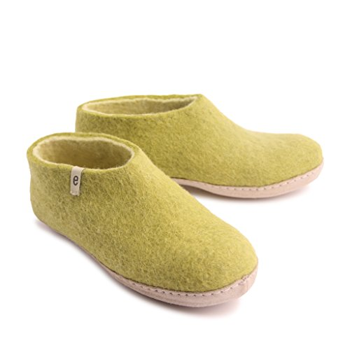 Slippers amp; Moisture Shoe for Slippers House Anti Ultra Wicking Deluxe Wool with 100 Egos Warm Comfortable Slippers Sheep Men Skid Slippers Handmade lime green Natural Classic Leather Women Sole amp; Bedroom qPx75nT